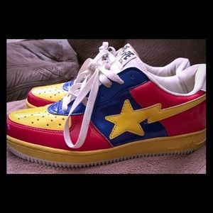 Bathing Ape Bapesta Yellow/Red Foot Soldiers SZ 10
